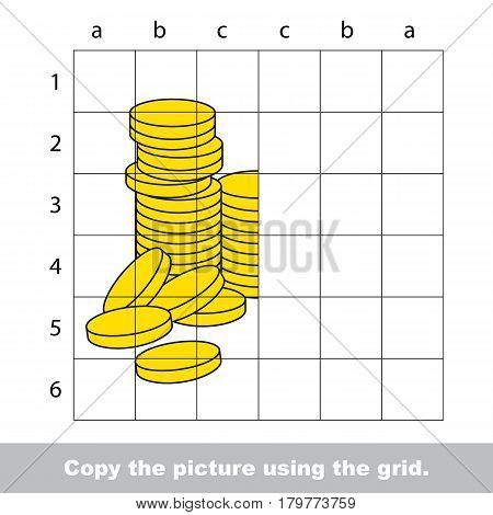 Finish the simmetry picture using grid sells, vector kid educational game for preschool kids, the drawing tutorial with easy gaming level for half of Cute Gold Cash Coins