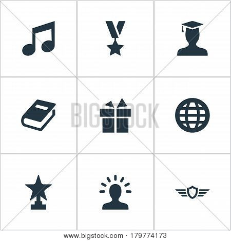 Vector Illustration Set Of Simple Champ Icons. Elements Present, Award, Prize And Other Synonyms World, Medallion And Wings.