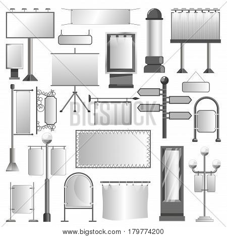 Advertising spaces and outdoor media display constructions templates. Vector isolated icons set of billboard, banner, x-banner, ad signage, pole flags and ridgepole mockup