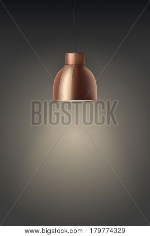 Vintage Brass stylish cone lamp on dark wall. Original Retro design. Hang ceiling model. Vector illustration Isolated on white background.