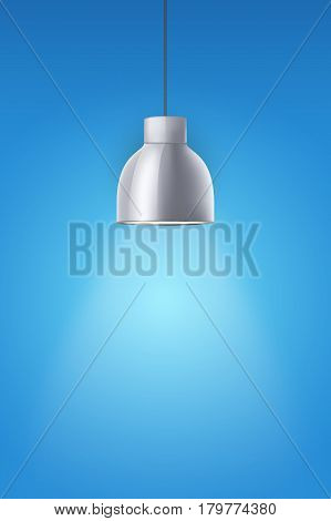 Vintage chrome stylish cone lamp on blue painting wall. Original Retro design. Hang ceiling model. Vector illustration Isolated on white background.