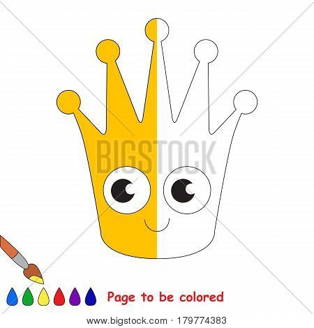 Gold Crown, the coloring book to educate preschool kids with easy gaming level, the kid educational game to color the colorless half by sample.
