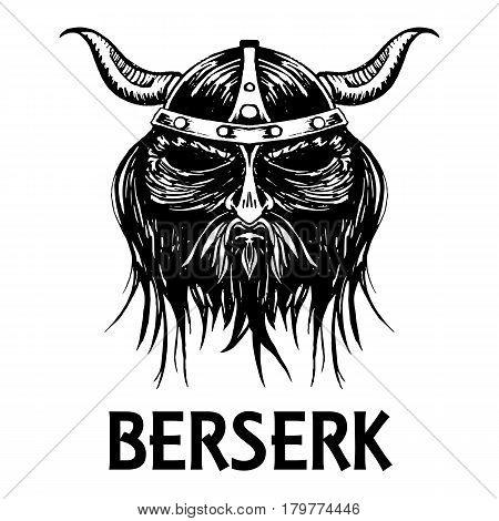 Berserk or berserker warrior head or mask. Ancient mythology Norse or Scandinavian viking or fierce soldier in helmet with horns. Vector isolated sketch icon