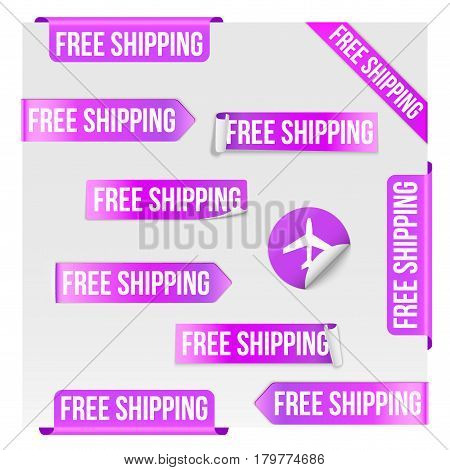 Set of Free Shipping Purple Label Icon Design. Vector illustration Isolated on white background.