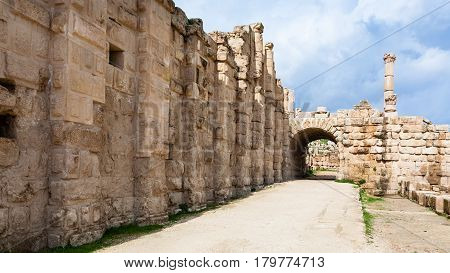 Area Temple Of Zeus In Jerash (gerasa) Town