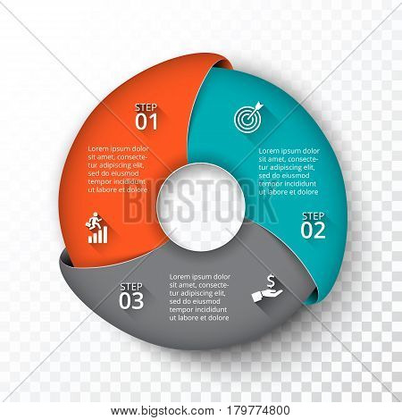 Vector circle infographic. Template for cycle diagram, graph, presentation and round chart. Business concept with 3 options, parts, steps or processes. Transparent background.