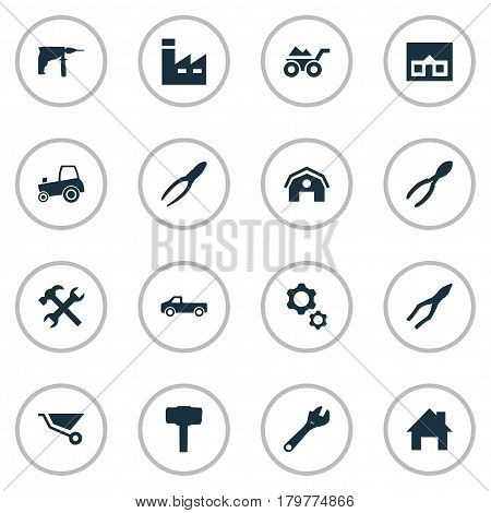 Vector Illustration Set Of Simple Build Icons. Elements Loaded Trolley, Agriculture Transport, Clamping Instrument And Other Synonyms Tool, Clamping And Pliers.