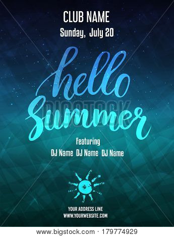 Hello summer party poster template. Abstract design. Vector illustration.
