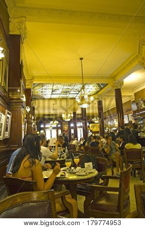 BUENOS AIRES - SEP 13: Interior of Cafe Tortoni on September 13 2012. Located on Avenue of May the Cafe Tortoni with over 150 years of history is the most famous of Buenos Aires Argentina.