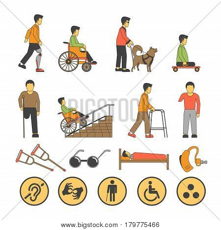 Persons with physical disability or handicapped people of limited opportunities and capabilities. Vector icons, signs and symbols for medical infographics flat design