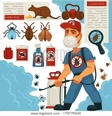 Extermination or sanitary domestic disinfection and pest control vector flat design poster. Disinfector man with disinfectant liquid or gas spray against mouse rats, cockroaches and mite insects