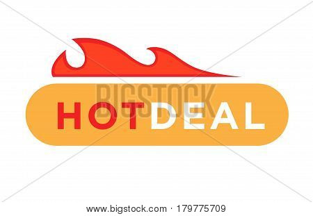 Hot deal logo or label template. Isolated vector symbol of text and burning fire flame for best price or discount offer sticker design