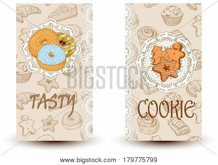 Tasty and cookies.Design elements in sketch style for confectionery and bakery shops. Perfect for restaurant brochure cafe flyer delivery menu