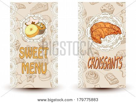 sweet menu and croissant Perfect for restaurant brochure cafe flyer delivery menu