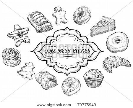 Hand drawn vector illustration - collection of goodies sweets cakes and pastries. Design elements in sketch style for confectionery and bakery shops. Perfect for menu cards blogs banners flyers