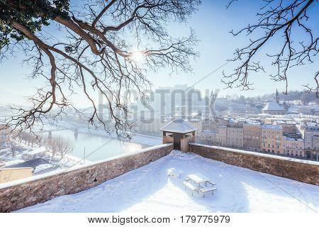 Historic Town Of Salzburg In Winter, Salzburger Land, Austria