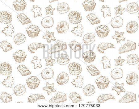 Hand drawn vector illustration - Seamless pattern with sweet and dessert. Yummy background croissant cupcakes pretzels cake cheesecake macaroon .