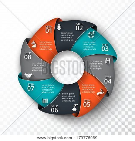 Vector circle infographic. Template for cycle diagram, graph, presentation and round chart. Business concept with 8 options, parts, steps or processes. Transparent background.