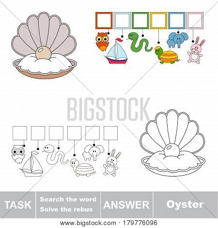 Educational puzzle game for kids. Find the hidden word Oyster, the seashell with pearl