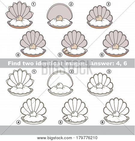 The educational kid matching game for preschool kids with easy gaming level, he task is to find similar objects, to compare items and find two same Oysters with Pearl.
