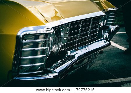 Vintage american muscle car. with  front bumper
