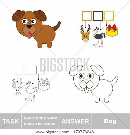 Educational puzzle game for kids. Find the hidden word Dog