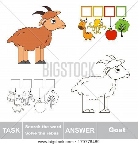 Educational puzzle game for kids. Find the hidden word Cute Brown Goat