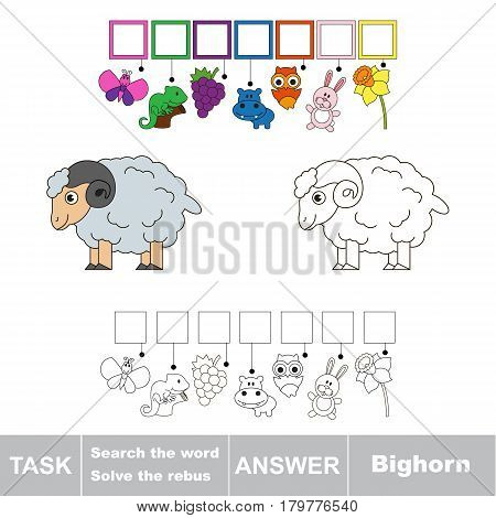 Educational puzzle game for kids. Find the hidden word Bighorn