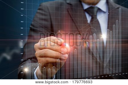 Businessman Running With Statistics On The Virtual Screen.