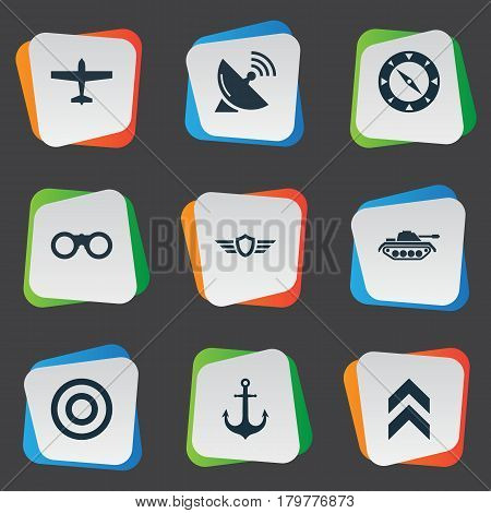 Vector Illustration Set Of Simple Battle Icons. Elements Ship Hook, Magnet Navigator, Signal Receiver And Other Synonyms Plane, Target And Aim.
