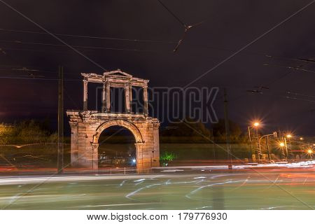 Night photo of Arch of Hadrian in Athens, Attica, Greece