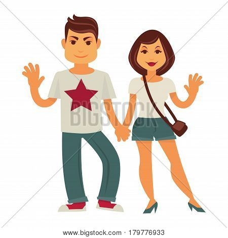 Young couple holding by hands and smiling. Vector flat family characters of man and woman or happy girlfriend and boyfriend with waving hands