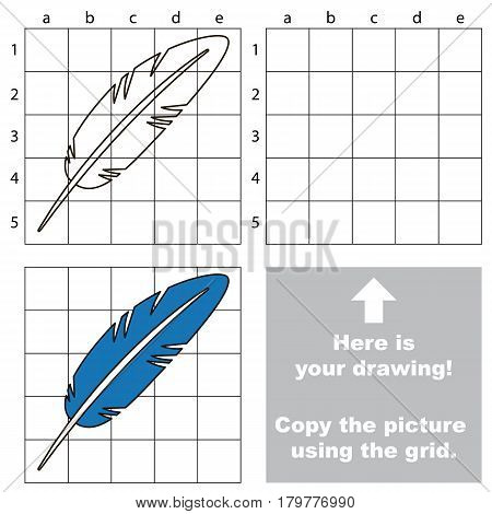 Copy the picture using grid lines, the simple educational game for preschool children education with easy gaming level, the kid drawing game with Blue Feather
