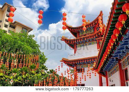 Red lanterns decoration in Thean Hou Temple Kuala Lumpur Malaysia. Thean Hou Temple is the oldest Buddhist Temple in Southeast Asia