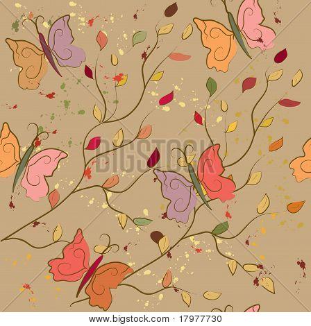 Seamless fall pattern with butterflies