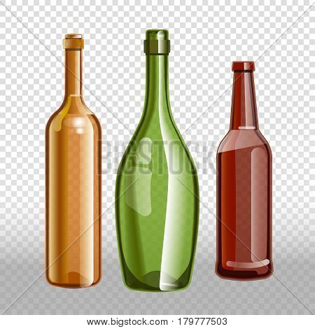 Glass bottles or glassware of alcohol wine, beer or champagne. Vector isolated 3D realistic icons set on transparent background
