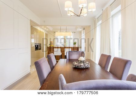 Wooden Dining Table In A Dining Area