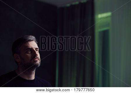 Sad Man In Room