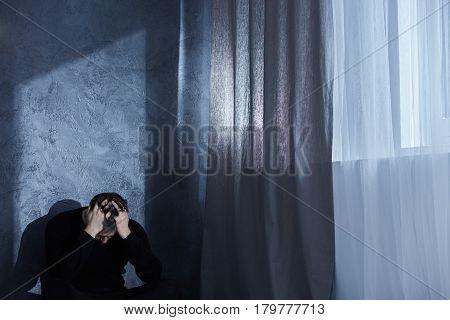 Depressed Man At Night