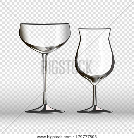 Drinking empty glassware of wineglass and cocktail glass. 3D realistic vector isolated icons on transparent background