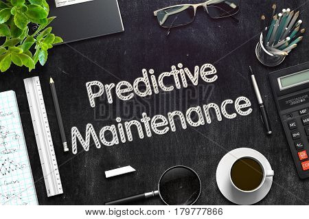 Predictive Maintenance - Text on Black Chalkboard.3d Rendering. Toned Image.