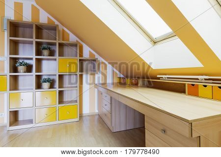 Yellow Office Room In An Attic