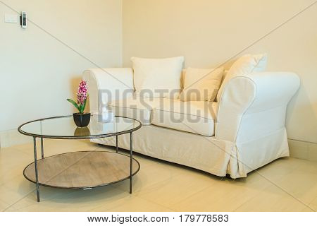 Sofa bed and table in living room