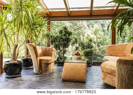 Spacious Indoor Orangerie With Upholstered Furniture