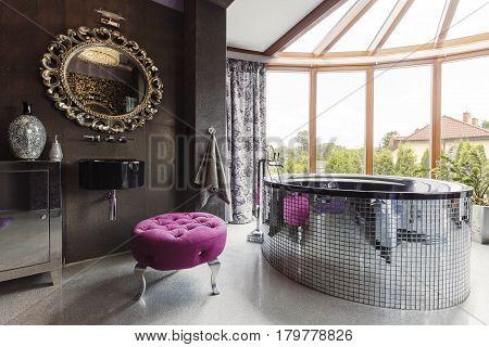 Spacious Black Bathroom With Big Windows