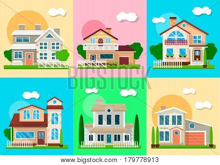 Houses, mansions and villa cottages. Vector residence and real estate buildings objects with garden or yard and courtyard landscape facades set