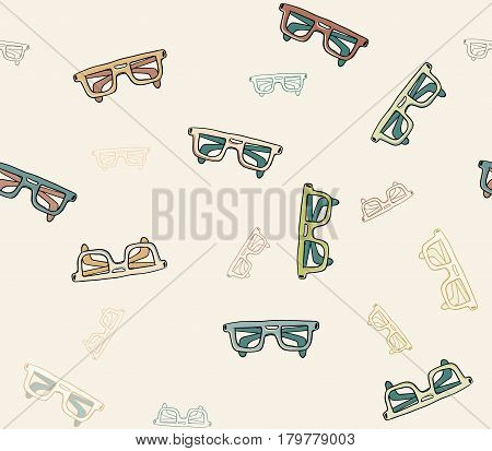 vector seamless pattern hand drawn doodle style sunglasses set. Good vector illustration for your background or textile
