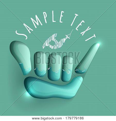 vector logo illustration. Shaka and wake symbol. Summer water sport game emblem. Sportsclub or championship symbol.