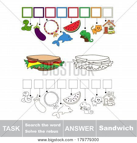 Educational puzzle game for kids. Find the hidden word Sandwich