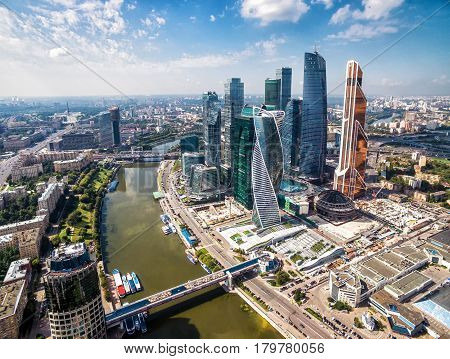 MOSCOW - AUGUST 22, 2016: Aerial view of Moscow-city (Moscow International Business Center) over Moskva River. Moscow-city is a modern commercial district in central Moscow.